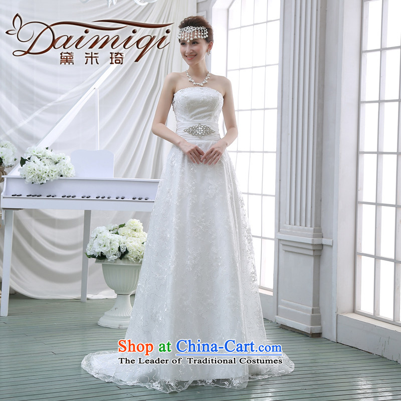 The new 2015 wedding dresses and chest small trailing crowsfoot stylish Sau San Korean brides to align the lace large winter White?XXL