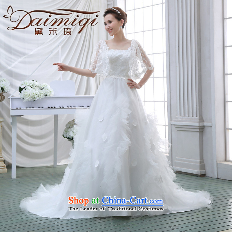 Wedding dress 2015 NEW Summer Wedding wedding lace stylish Korean long tail of the word wedding shoulder White XL