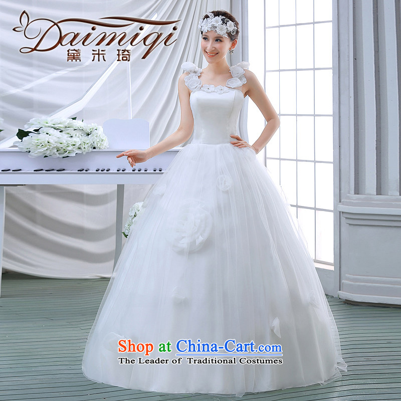 2015 Spring New Korean minimalist princess shoulders the word lace retro shoulder bon bon skirt to align the wedding White�XL