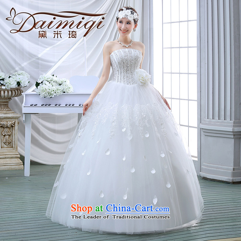 The spring of 2015, Diamond Korean brides edition alignment with Chest Sau San large white dress code wedding dress princess lace white stylish?XL