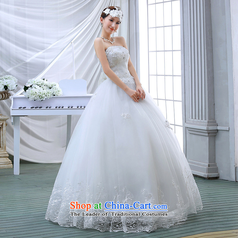Wedding dresses spring 2015 the new Korean brides to align the princess lace bon bon light drill video thin wiping the chest wedding White M Demi Moor Qi , , , shopping on the Internet