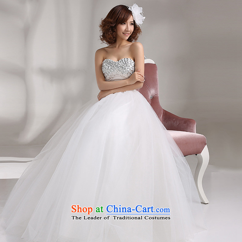 2015 Full Chamber New Ho wedding dresses Korean modern luxury to align the diamond wiping the chest straps Sau San wedding white white S