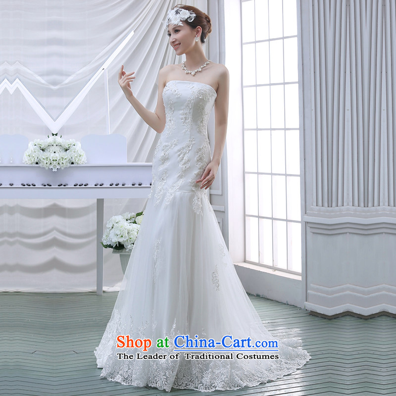 Wipe the chest small trailing wedding dresses new bride 2015 minimalist Korean skirt A crowsfoot lace align to white L, Sau San Demi Moor Qi , , , shopping on the Internet