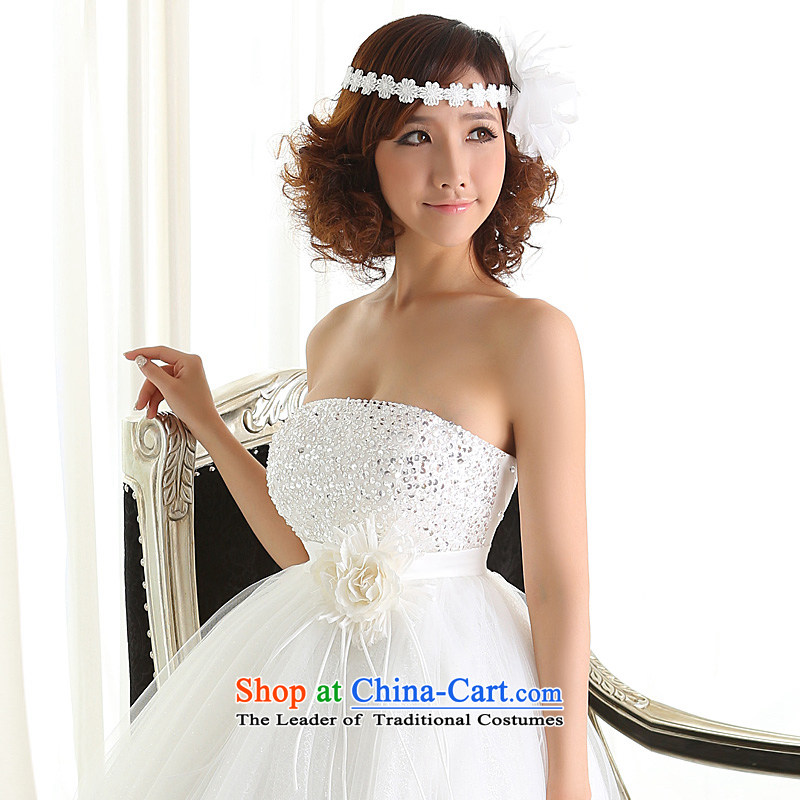 Wedding dresses new 2015 Korean alignment with Chest straps bride video large thin pregnant women wedding Top Loin white聽L