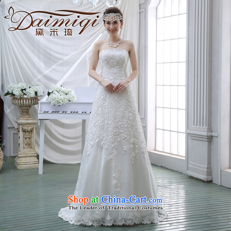 2015 new spring and summer and chest Wedding Fashion Korean version of Sau San skinny tail wedding lace diamond wedding white�L
