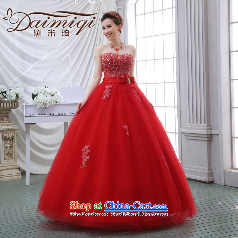 The spring and summer 2015 new stylish Korean diamond ornaments with breast height large waist to align graphics thin pregnant women bride wedding dresses red red?XXL