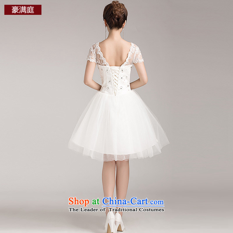 The bride minimalist wedding dress sweet princess bon bon skirt package shoulder lace short-sleeved short of straps in spring and summer wedding white聽S Ho full Chamber , , , shopping on the Internet