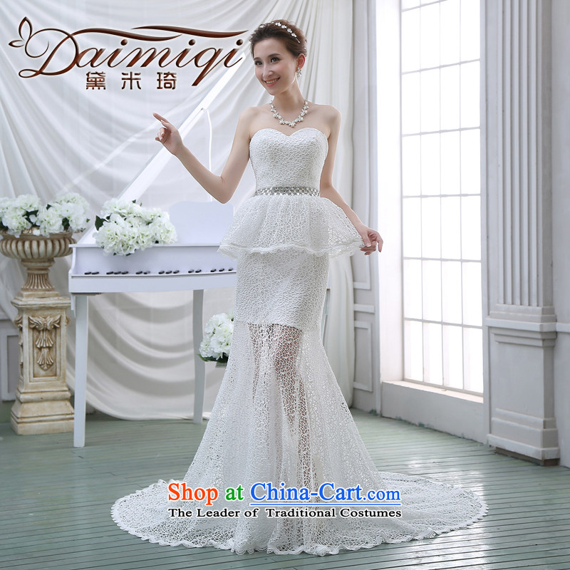 Wedding dresses new 2015 luxury lace collar engraving tail Foutune of video thin crowsfoot retro wedding white�L