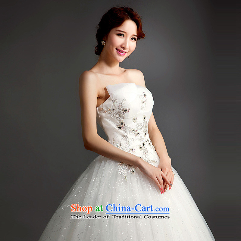 Ho full Chamber wedding dresses new 2015 drill stylish lace straps and align the bride to tailor your chest wedding white L