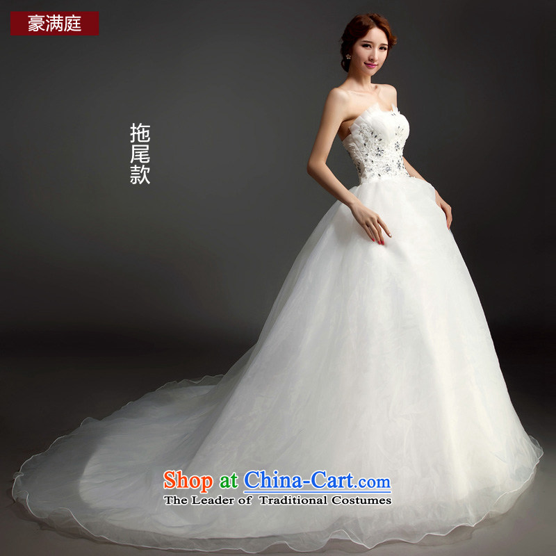 Ho full Chamber wedding dresses 2015 new anointed chest lace diamond align to wedding bride Korean long tail tail_聽XL