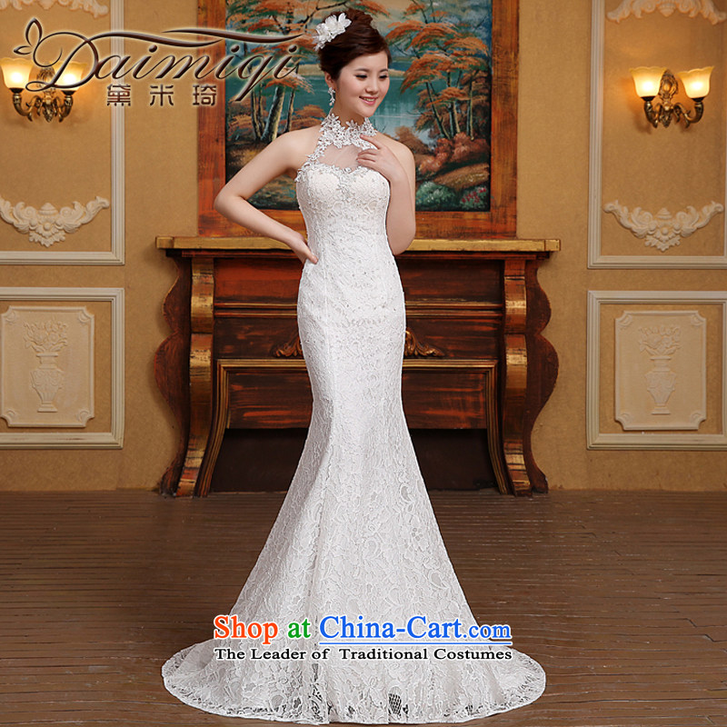 Wedding dresses of the new spring 2015 stylish lace hangs also crowsfoot female wedding marriages White�XXL