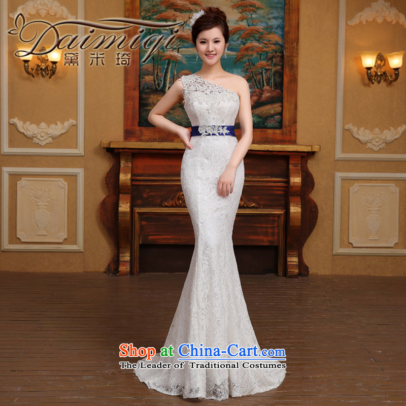 2015 new stylish wedding dress Korean minimalist shoulder foutune crowsfoot video thin lace tail straps retro White�XL