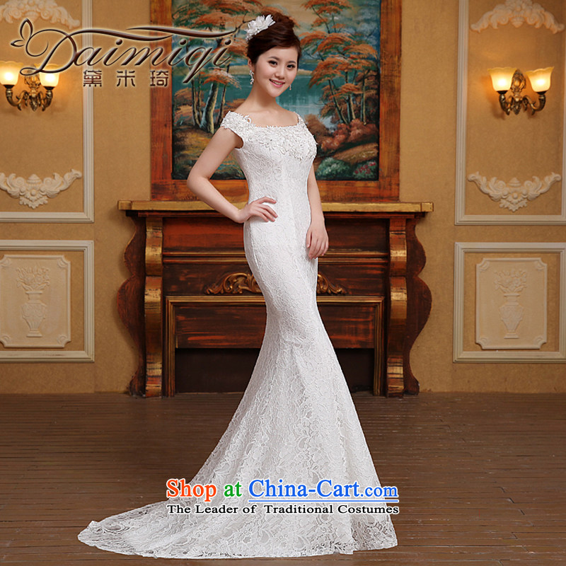 2015 Spring_Summer new word shoulder crowsfoot wedding dresses small trailing straps Sau San Video Foutune of thin lace shoulders White?XL