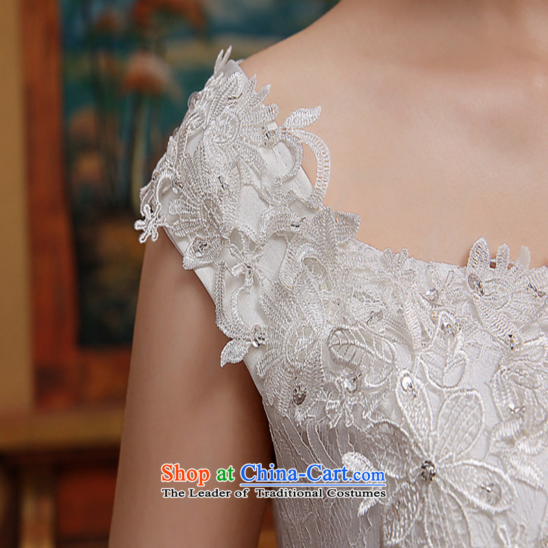 2015 Spring/Summer new word shoulder crowsfoot wedding dresses small trailing straps Sau San Video Foutune of thin lace shoulders WhiteXL, Demi Moor Qi , , , shopping on the Internet