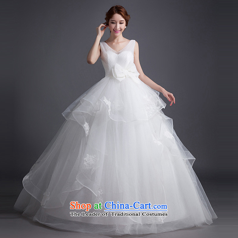 Ho full Chamber wedding dresses 2015 new stylish shoulders V-Neck bride pregnant women Korean stream to align the su bow tie white�S