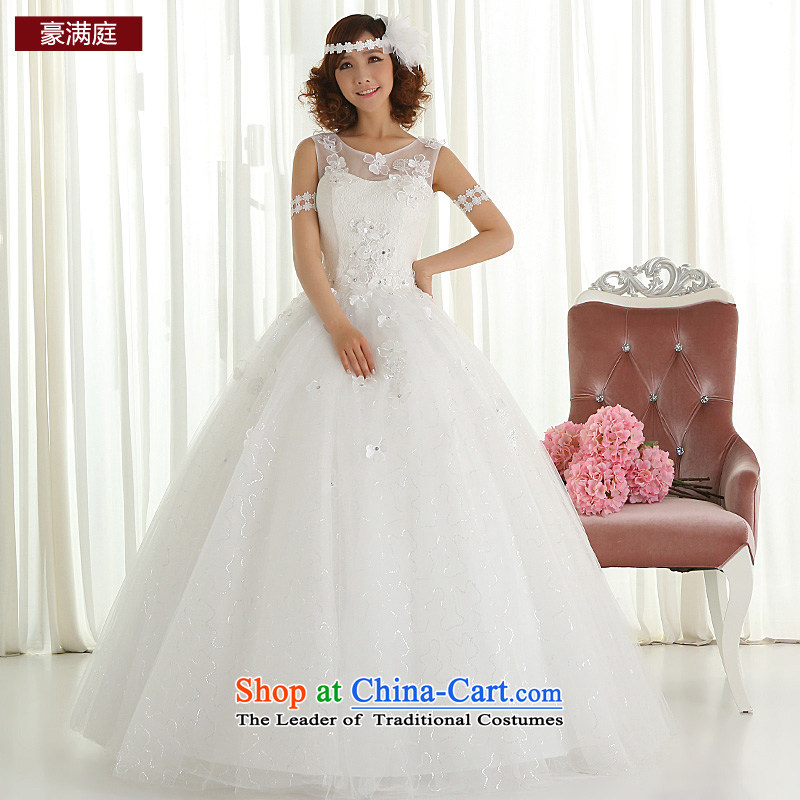 The bride wedding dresses new 2015 stylish and simple Korean short word, princess shoulder white Wedding Theme Sau San long length?L