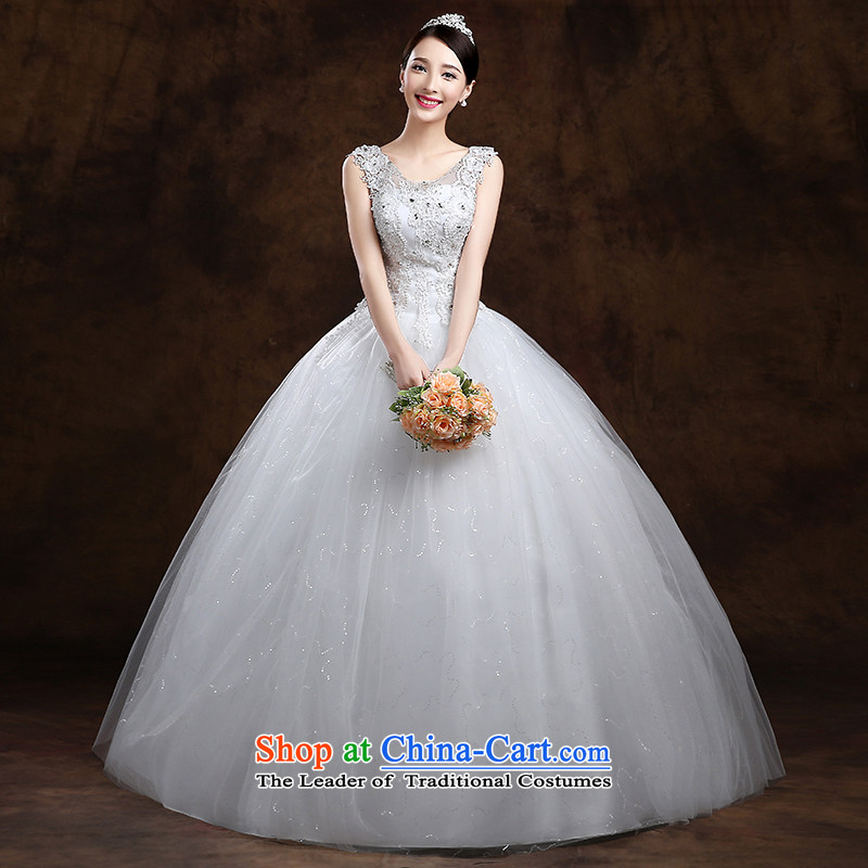 The first white wedding dresses into about 2015 Spring New Korean minimalist shoulders to align graphics thin marriages wedding White?M