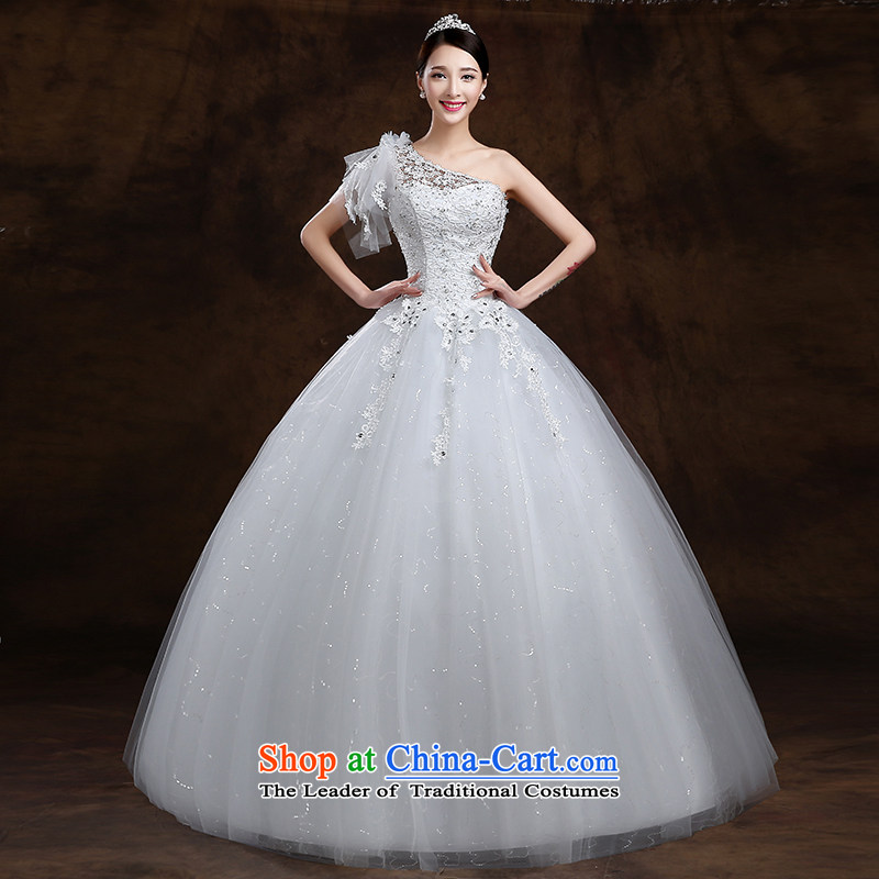 The first white into about�2015 Spring/Summer new Korean shoulder to align the Sau San white marriages wedding dresses video thin White�XXL