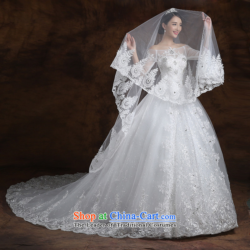 The first white into about Korean word shoulder large tail wedding Sau San bride wedding dresses new 2015 Spring/Summer Wedding?XXL