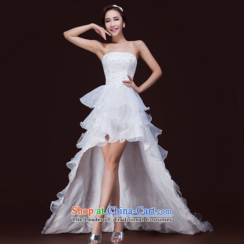 In spring and summer 2015 new bride, before I got married after short Han tail wiping the chest edition wedding dress strap white petals?S