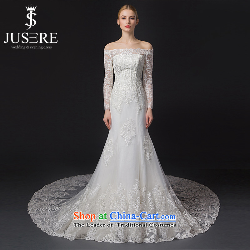 There is a?new 2015 Early gardenias slotted shoulder long-sleeved Sau San crowsfoot wedding dresses trailing white?2 code