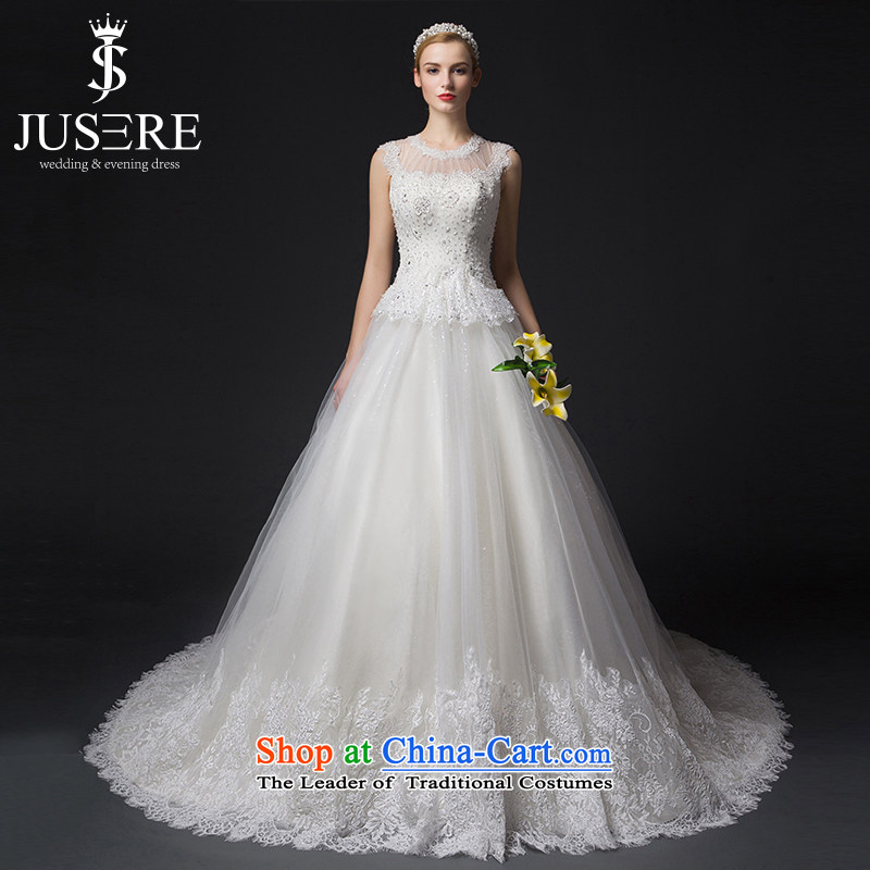 There is a first love?2015 new wedding dresses lace engraving round-neck collar Sau San small trailing white?6 yards