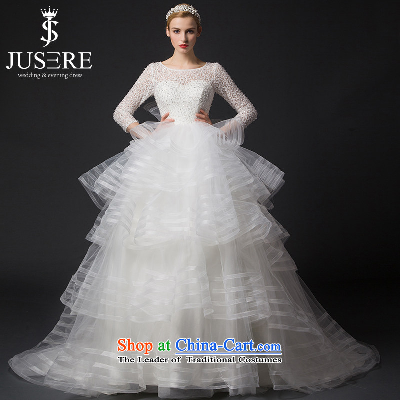 Located on Elizabeth�2015 is the new wedding dresses long-sleeved lace multi-tier bon bon skirt tail white�10 Code