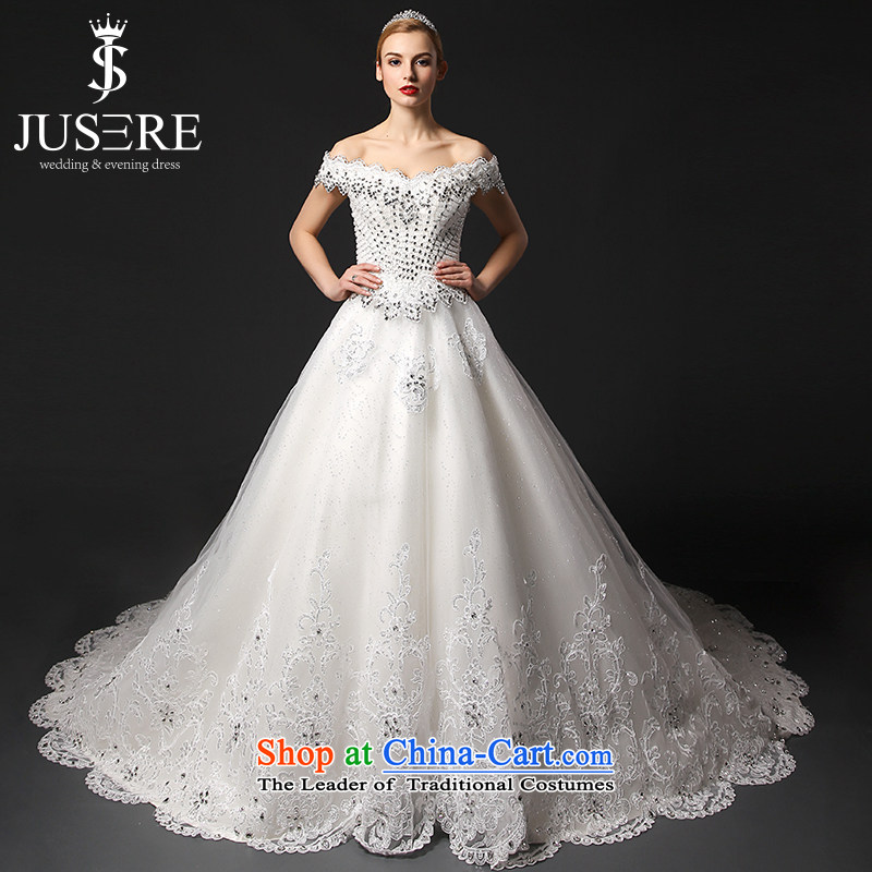 There is a star-yu yi�2015 new word wedding dresses shoulder large tail royal palace White�6 yards