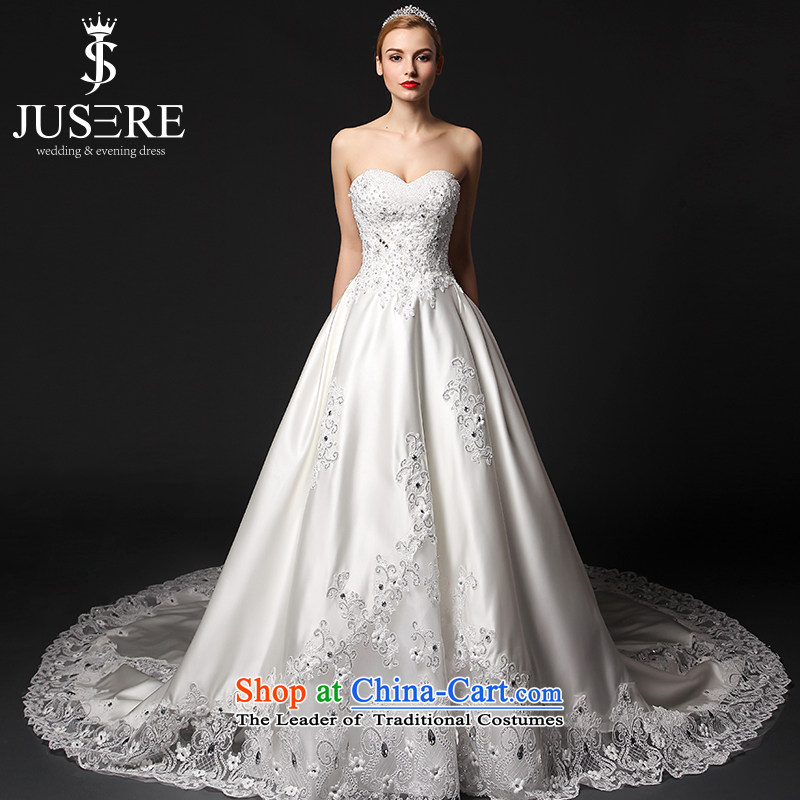 Ensure that the set is by no means the courage to wedding dresses 2015 new anointed chest lace large tail Satin White tailored
