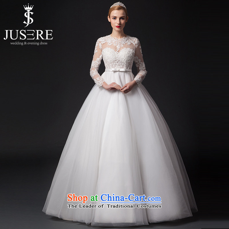 There is a thin ice lace long-sleeved wedding dresses skirt to align the White�4 code