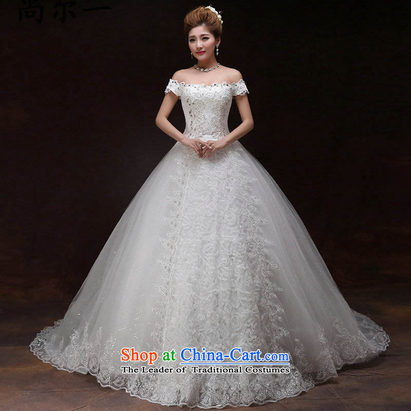 There is also optimized 8D bride wedding dresses of the funds from the alignment tail new 2015 Korean word spring shoulder trendy code graphics thin lace drill xs8222 White�XXL
