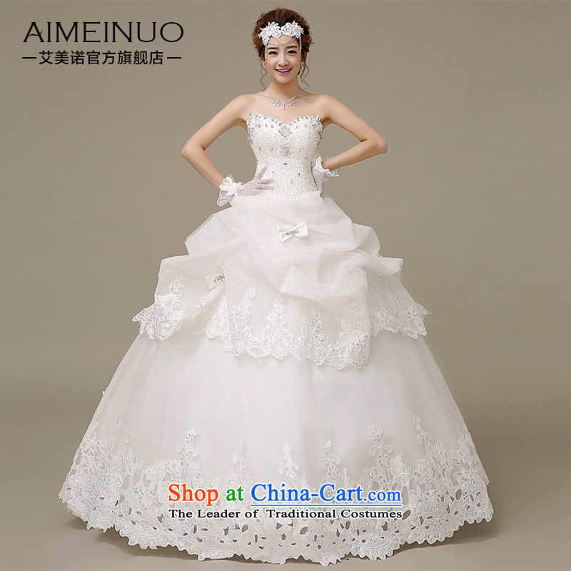 Hiv Miele wedding dresses 2015 Spring/Summer water drilling wiping the chest of a Bow Tie Strap lace parquet Korean alignment to the Princess Bride wedding�H-49�White�XXL