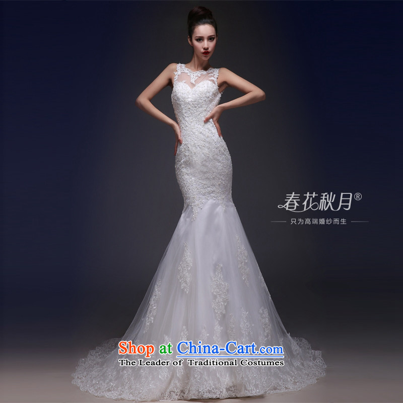 Sau San crowsfoot wedding dresses white lace sexy back 2015 new shoulders of nostalgia for the bridal wedding trailing white聽L