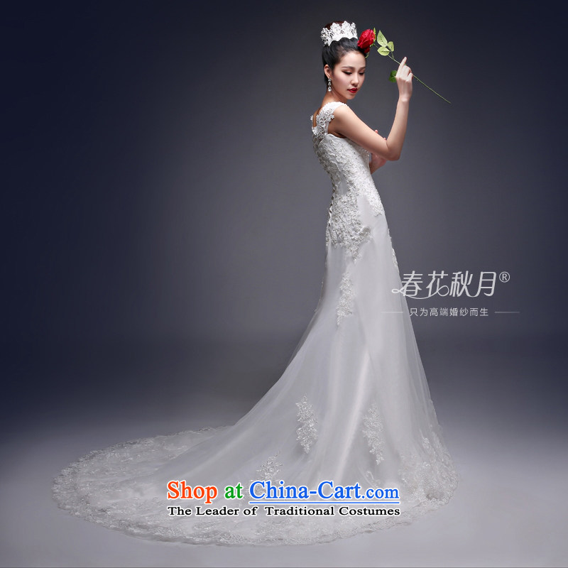 Crowsfoot wedding dresses small trailing the new 2015 Korean fashion Korean summer lace shoulder straps large bride white?L