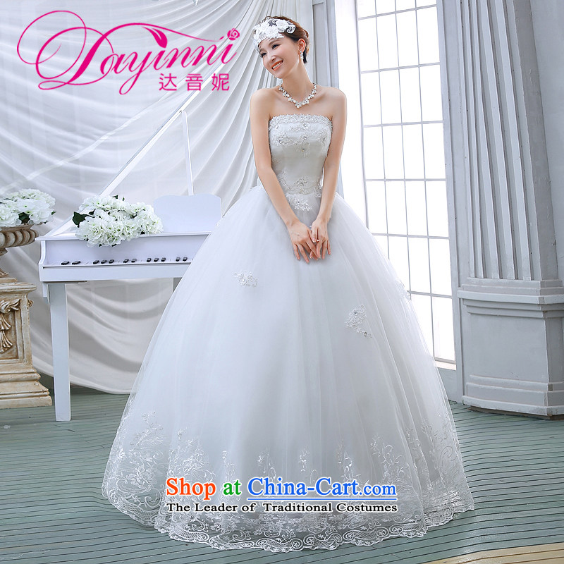 Wedding dresses spring 2015 the new Korean brides to align the princess lace bon bon light drill video thin wiping the chest wedding White?M