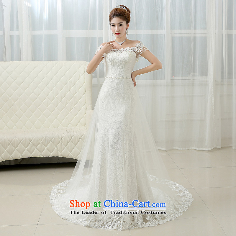 The first white into about?2015 new bride wedding dresses summer package and tail graphics thin crowsfoot sexy wipe his chest lace white?L