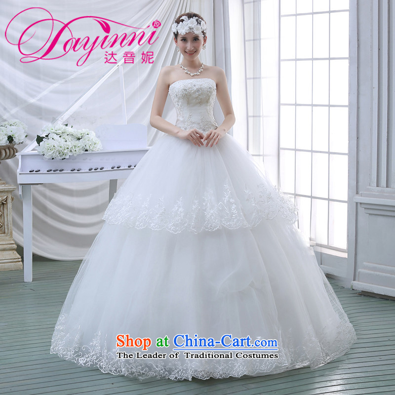 2015 Spring New wedding dresses flowers lace retro straps Korean Princess Mary Magdalene chest with sweet wedding White?XXL