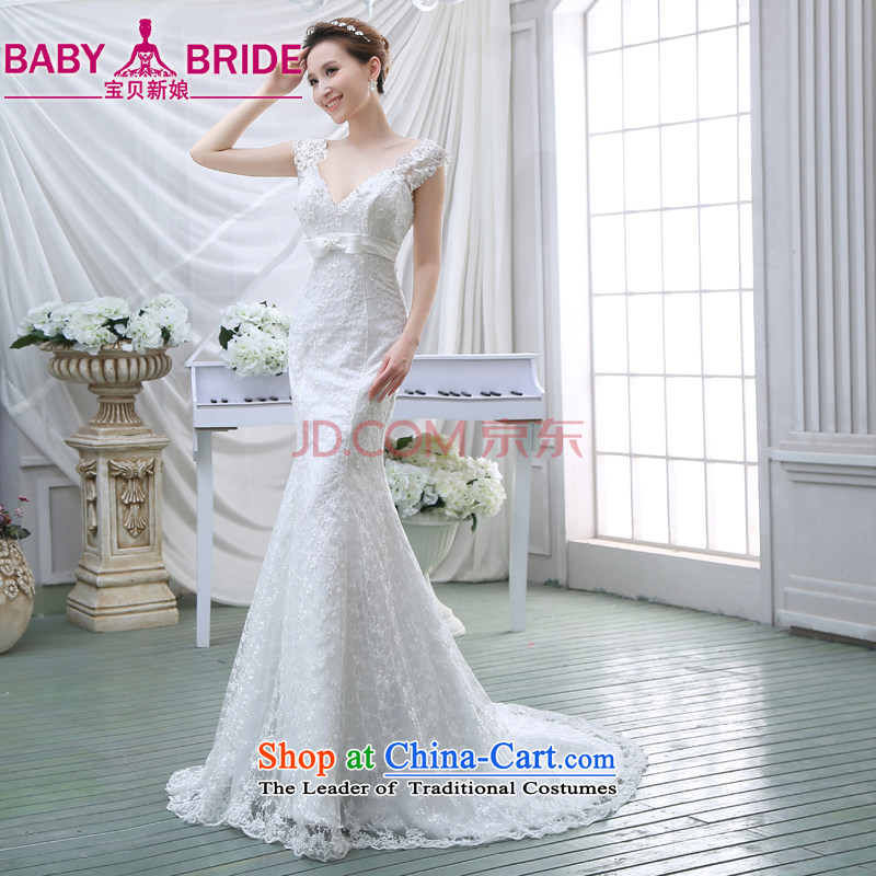 Wedding dress 2015 new V-Neck lace long-sleeved Sau San video thin small Heung-crowsfoot wedding dresses white?S