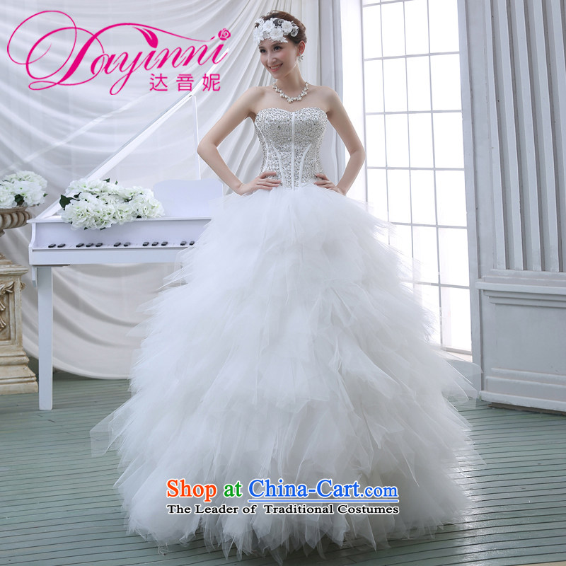 2015 new Korean wiping the chest water drilling bon bon skirt bride wedding dresses White M