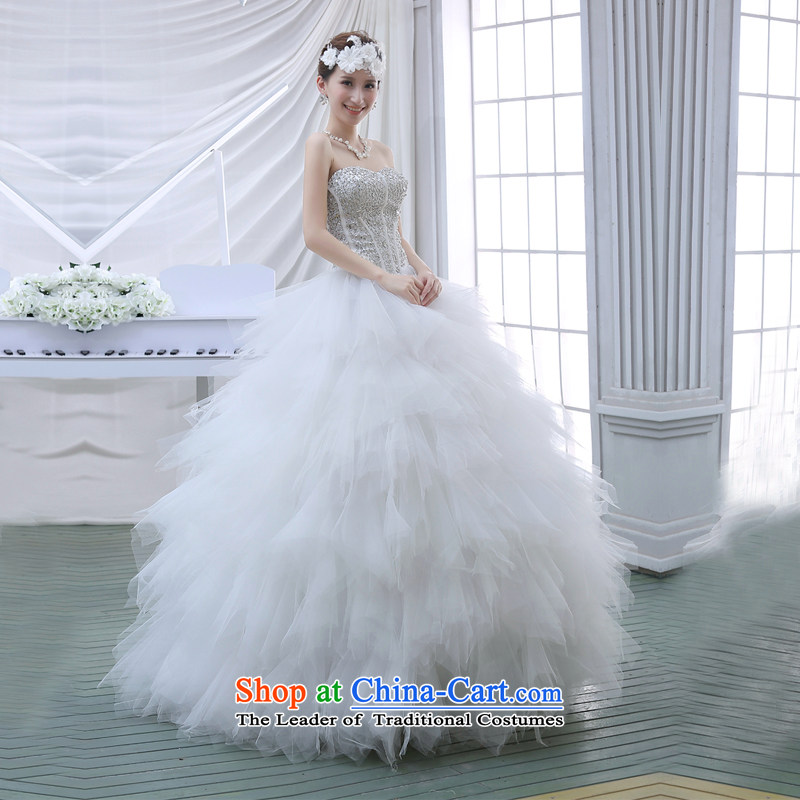 2015 new Korean wiping the chest water drilling bon bon skirt bride wedding dresses White M to sound (dayinni ni) , , , shopping on the Internet