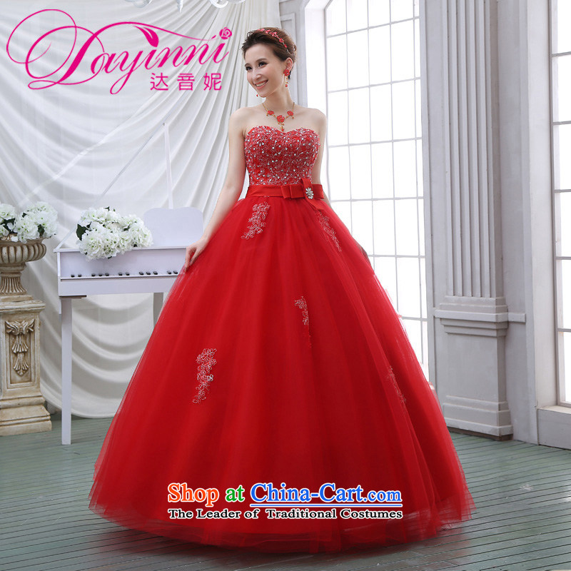 The spring and summer 2015 new stylish Korean diamond ornaments with breast height large waist to align graphics thin pregnant women bride wedding dresses red red?L