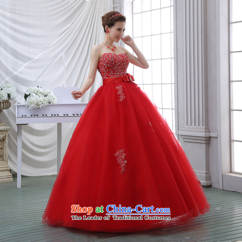 The spring and summer 2015 new stylish Korean diamond ornaments with breast height large waist to align graphics thin pregnant women bride wedding dresses red red, L, to sound (dayinni ni) , , , shopping on the Internet