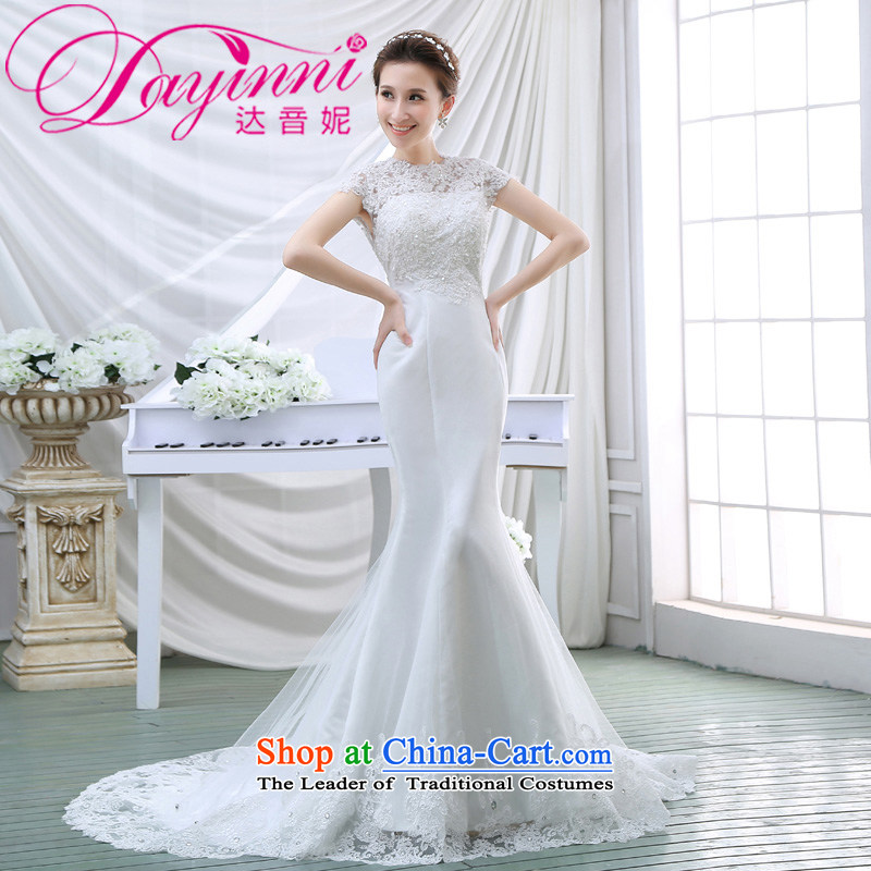 Wedding dresses 2015 Spring New Word shoulder crowsfoot wedding small trailing Korean Foutune of Hamor Sau San chest wedding summer White?XL