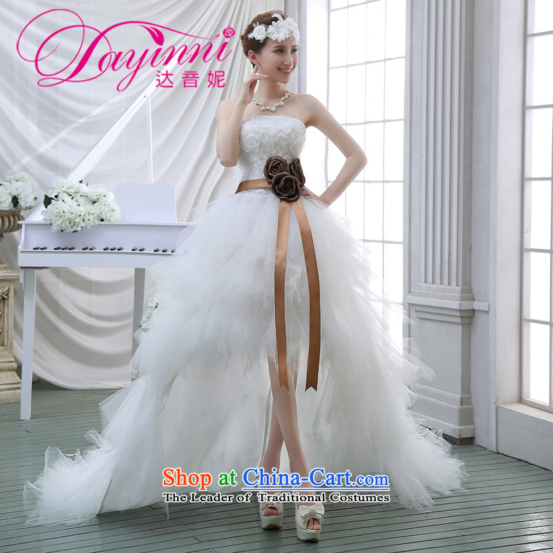 2015 Spring new upscale front stub long after wedding feather wedding wiping the chest small trailing marriages short of tail White?XXL