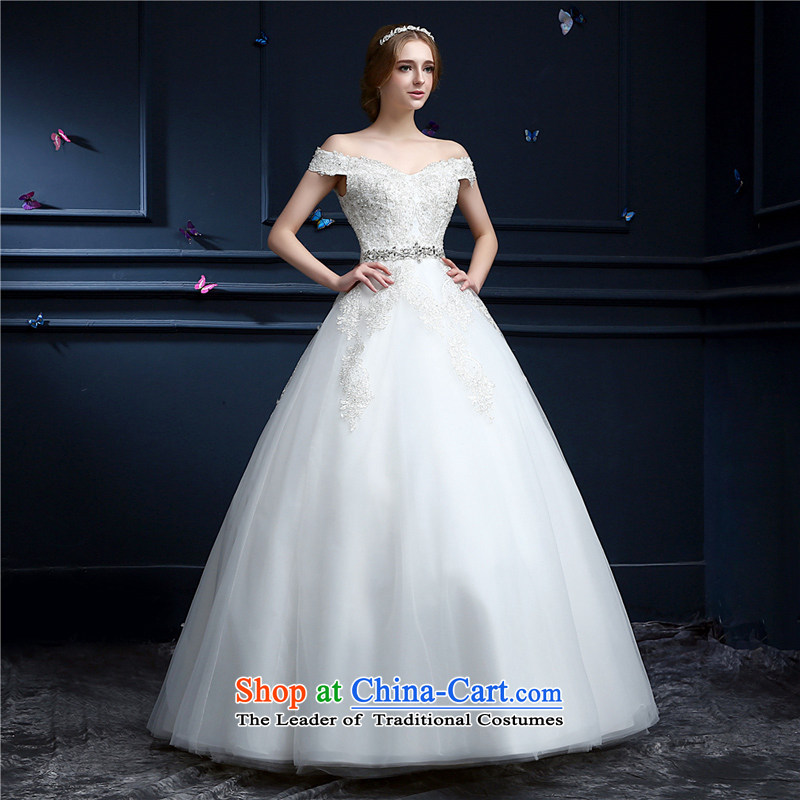(Heung-lun's wedding dresses as the spring and summer of 2015, the new Korean Layout Align to customize your shoulders The Princess Bride slotted shoulder wedding video thin white?XL code