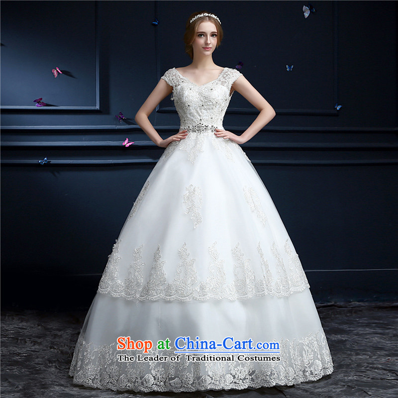 (Heung-lun's Health�2015 New 2 shoulder bags shoulder wedding lace V-neck in the high-end alignment with the large number of integrated graphics thin wedding Princess Bride wedding white�S