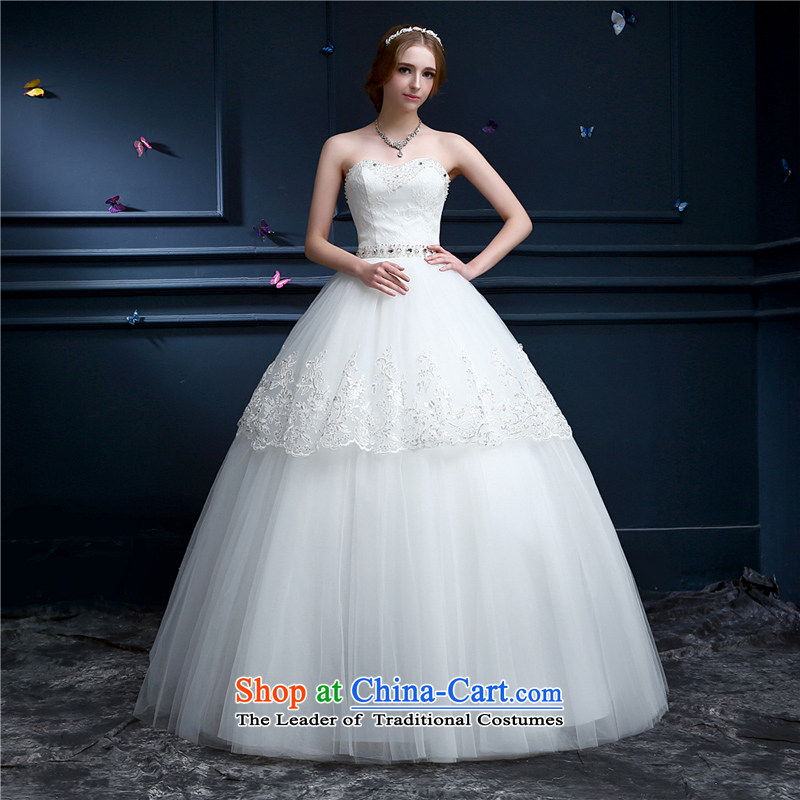 _Heung-lun's Health聽2015 summer to align the new wedding continental and chest straps for larger women married to the Princess Bride skirt bon bon dress wiping the Chest White聽M