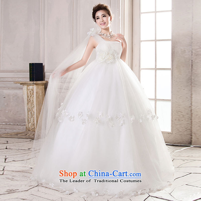 Millennium bride?2015 Spring_Summer new Korean Top Loin video thin stylish large number of pregnant women to align the bride MM thick wedding dresses H711 white high rise video thin?XXL_2 ft 6 waist