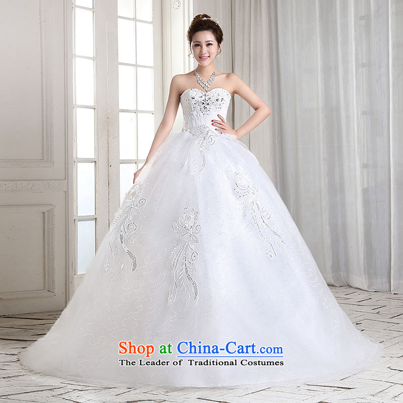 Millennium bride聽2015 spring_summer when the new Korean anointed chest Sau San video diamond thin stylish lace long tail wedding H2001 tail_聽XL