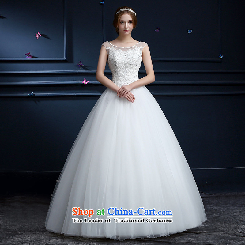 _Heung-lun's health bride wedding dresses Summer 2015 new Korean minimalist shoulders to align graphics thin wedding dress to marry field shoulder wedding custom White聽XXL